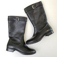 Ralph Lauren Sorissa Boots Black Leather Moto Side Zip Silver Buckle Women's 6 B