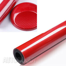 "12"" x 60"" Premium 5D HIGH GLOSS Red Carbon Fiber Vinyl Bubble Free Air Release"
