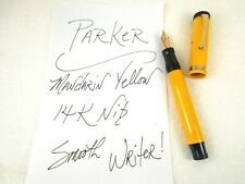 Vintage 1920's PARKER Fountain Pen ~ Mandarin Yellow DUOFOLD JR 14K Nib ~ ExC