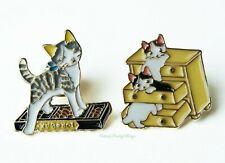 Set of 2 Cat Enamel Pin Brooches (Abacus & Drawers) Kawaii Kitty Cat Pin Badge