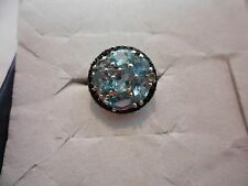 Paraiba Apatite Oval Ring w/Thai Black Spinel Accents in 925 Sterling-Size 8