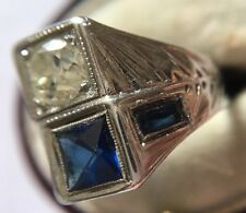 Art Deco Antique Platinum Large Cocktail Diamond Sapphire Ring Unusual  Setting