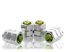 BTR Green Crystal Chrome Metal Anti-Theft Tire Air Valve Cap-CC