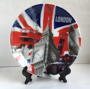 London Decoration Showpiece Plate With Display Stand Souvenir Christmas Gift