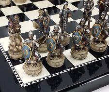 "Medieval SKELETON SLAYER GOTHIC SKULL CHESS SET W/ BLACK & WHITE GLOSS BOARD 15"""