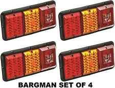 BARGMAN SET OF 4 (FOUR) TRAILER RED & AMBER LED TAIL LIGHT - INCANDESCENT BACKUP