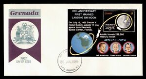 DR WHO 1989 GRENADA FDC SPACE 20TH ANNIV FIRST MANNED MOON LANDING S/S C236715