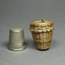 More details for 19th century miniature thimble holder straw basket folk art circa 1900