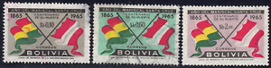 1966 Bolivia SC# 475-478 - F - Flags of Bolivia &Peru - 3 Different Stamps- Used