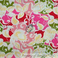 BonEful FABRIC FQ Cotton Quilt Pink White Green Yellow Flower Spring Leaf Swirl