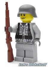 WW2 WWII Custom Wehrmacht Soldat mit BrickArms Kar98, Figur aus LEGO® Teilen