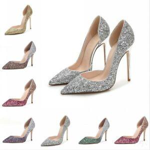 Women Pointy Toe Sequins Glitter Slip On Shoes Wedding Stilettos High Heels Sexy