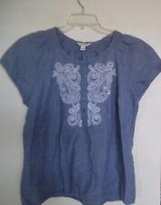 CROFT & BARROW Chambry Blue White Paisley Cotton  Henley top Shirt Sz L