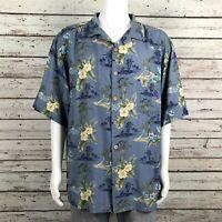 Jamaica Jaxx Hawaiian Floral Button Up Camp Shirt XL Men's Blue Yellow Silk