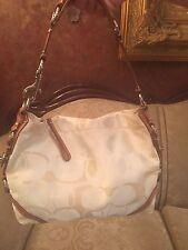 Coach Signature Cream/Ivory Duffle Hobo Shoulder Bag Purse 11962 Rtl. $348