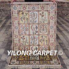 YILONG 2.5'x4' Four Seasons Hand Knotted Silk Carpet Floor Home Area Rug 348B