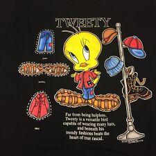 Vintage Tweety Bird Black T-shirt Looney Tunes Sylvester Canary Merrie Melodies