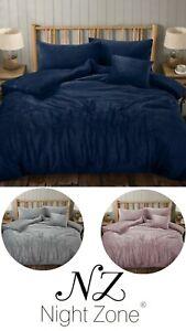 Luxury Teddy Bear Wave Fleece Duvet Cover Soft Warm Cosy Wavy Bedding Set