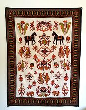 Vintage Hand Embroidered Needlepoint Folk Art Tapestry, Mexican Peruvian Birds