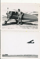 WWII 1940s GI's aircraft 2 Photos small airplane, on ground & in flight