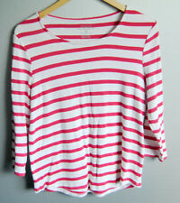 Chico's The Ultimate Tee Women's Size 1 Striped Red and White Long Sleeves