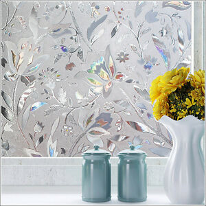 3D Static Cling Frosted Flower Glass Window Film Sticker Privacy Bedroom Decor