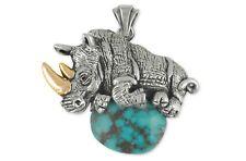 Rhinoceros Pendant Jewelry Sterling Silver Rhinoceros Wildlife Pendant Ro2-Zsp