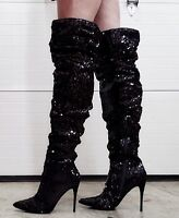 """Black Sequin Cortly 3011 Over Knee Scrunch Boots 5"""" High Stiletto Heel 6 - 14"""
