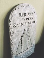 """Large Nautical Resin Wall Plaque """"Red Sky At Night, Sailor's Delight"""" Sailboat"""