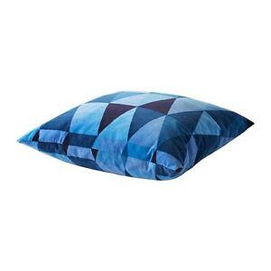 """IKEA STOCKHOLM Cushion BLUE Cotton VELVET TRIANGLES THROW PILLOW 22 x 22 """" NEW"""