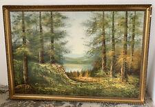 Vintage Large Original Signed Oil Painting Landscape Picture Gilt Frame