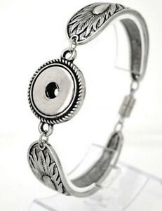 Silver Spoon Feather 18-20mm Snap Interchangeable Bracelet For Ginger Snaps