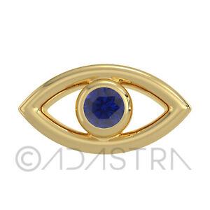 Adastra Blings Tooth Gems Evil Eye Blue CZ Bezel Studded 925 Sterling Silver