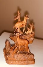 """VTG MINIATURE Carved Wood Ibex / Buck Figurine Table Bell Brienz Black Forest 2"""""""