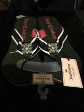 JUICY COUTURE Rhinestone Thong Wedge Heels Sandals Flip Flops PINK/BLUE XLG