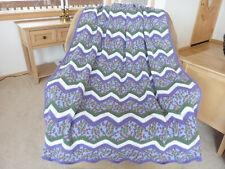 Handmade Crochet Purple Green Zigzag Afghan Blanket 70
