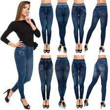 Womens Classic Blue Denim Leggings High Waisted Jeggings Slim Fit M-2XL FSDS2