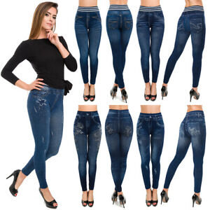 Womens Classic Blue Denim Leggings High Waisted Jeggings Slim Fit M-2XL FSDS2