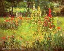 Hollyhocks and Poppies by John O Adams Garden Summer Flowers 8x10 Art Print 0543