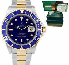 Rolex Submariner Fecha de dos tonos de acero reloj de oro Azul 40mm 16613 lb Caja Papeles