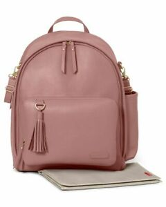 NEW Skip Hop Pink Greenwich Luxe Vegan Leather Baby Nappy Changing Bag Rucksack