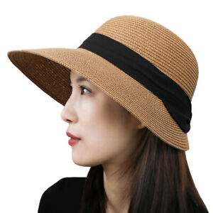 New Women Summer Wide Brim Straw Hat Floppy Beach Sun Foldable Cap Beach Hat Cap