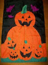Halloween Pumpkins Garden Flag Yard Decor Applique Stitched