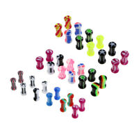 12Pcs Acrylic Ear Flesh Tunnels Plugs Double Flare Gauge Expander Piercings