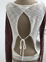 Maude Womens Top Sweater Cut Out Back Long Sleeve Thin Rust & Ivory Summer Sz S
