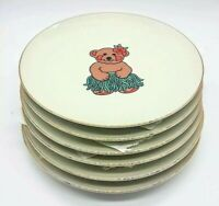 Set of 6 Decorative Hula Bear Plates with Gold Rims Unbranded