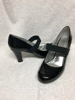 "RAMPAGE CARLI SIZE 8 1/2 M BLACK PATENT 3"" HIGH HEELS SHOES PUMPS"