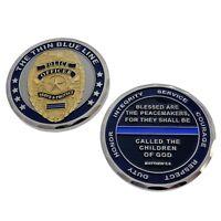 Matthew 5:9 Thin Blue Line Police Badge Challenge Coin Law Enforcement Memorial