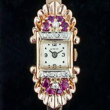 ArtDeco 14K Rose Gold Watch Women's Geneva with Diamonds Rubies  Dress Styles