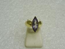 10K YELLOW GOLD MARQUISE CUT AMETHYST RING SIZE 7 3/4 FEBRUARY BIRTHSTONE G24-C
